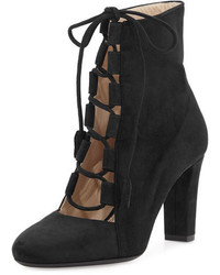 Valentina Carrano Nell Suede Lace Up Ankle Boot Black