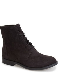 Black Suede Lace-up Flat Boots