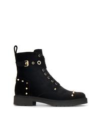 Fendi Black Studded Velvet Biker Boots