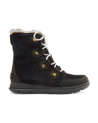 Sorel Explorer Joan Faux Med Waterproof Suede And Leather Ankle Boots