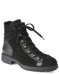Aquatalia Lettie Suede Leather Shearling Hiking Boots