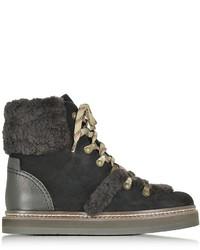 See by Chloe See By Chlo Dark Brown And Black Suede Boot Wshearling Detail