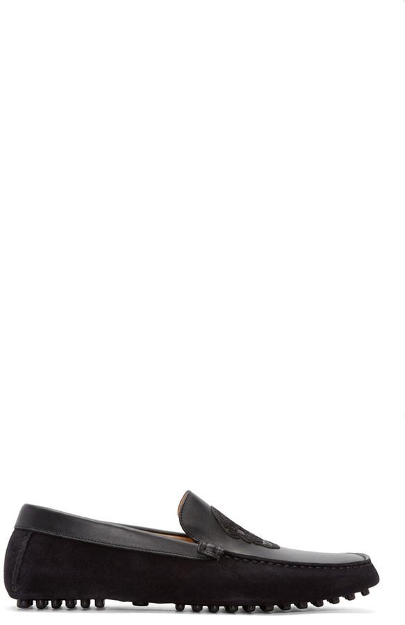 9356aa367aec8 Alexander McQueen Black Suede Skull Loafers, $440 | SSENSE ...