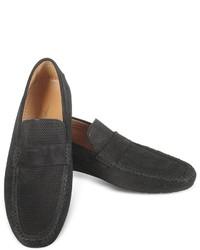 Portofino black perforated suede driver shoes medium 337681