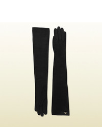 Long black suede gloves medium 129877