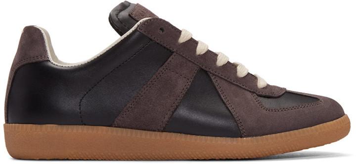 b44833826f4 $470, Maison Margiela Black Calfskin Suede Replica Sneakers