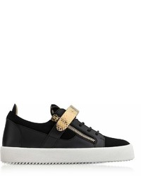 Giuseppe Zanotti Black Leather And Suede Archer Sneakers