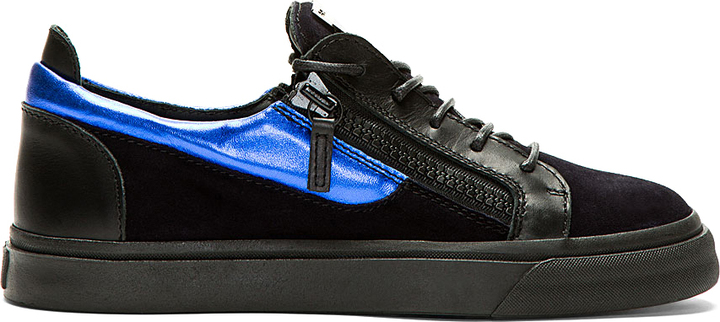 Giuseppe Zanotti Blue Black Suede London Sneakers