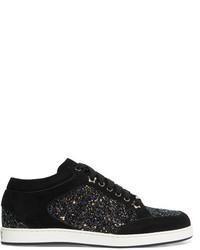 Jimmy Choo Miami Glitter Paneled Suede Sneakers Black