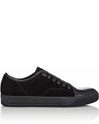 Lanvin Suede Leather Cap Toe Sneakers