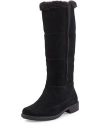 Taryn Rose Abbott Mid Calf Boot With Fur Trim Black