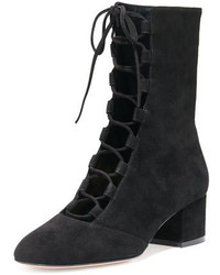 Gianvito Rossi Delia Suede Lace Up Ankle Boot