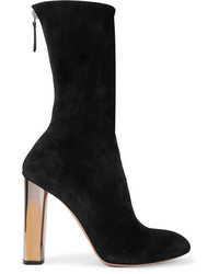 Alexander McQueen Embellished Suede Ankle Boots Black