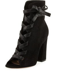 Gianvito Rossi Fraser Suede Open Toe Lace Up Bootie