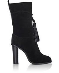 Lanvin Tassel Detail Mid Calf Boots Black