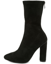 Unbelievably Chic Black Suede High Heel Mid Calf Boots