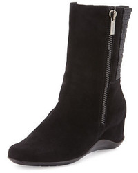 Aquatalia by Marvin K Velma Double Zip Suede Mid Calf Boot