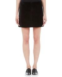 Edun Suede Front Mini Skirt Black