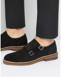 Asos Monk Shoes In Black Suede With Natural Sole