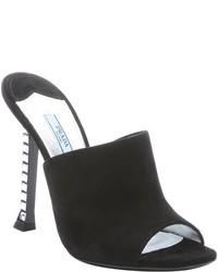 Prada Black Suede Embellished Heel Mules