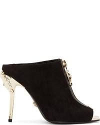 Versace Black Suede Medusa Heels