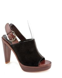 Cole Haan Stephanie Airotclg Black Leather Mules Heels Shoes