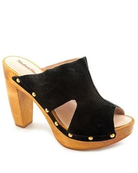 Madison Harding Gloria Black Suede Mules Shoes Newdisplay