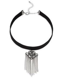 Cara Crystal Chain Pendant Choker Necklace