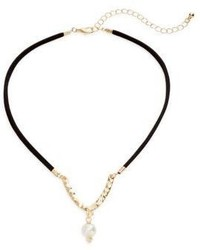 Cara Faux Suede Faux Pearl Choker Necklace