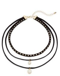 Cara Faux Suede Triple Layered Studded Crystal Choker Necklace