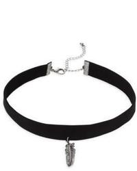 Cara Feather Pendant Choker Necklace