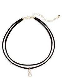 Cara Faux Pearl Crystal Pendant Layered Choker Necklace