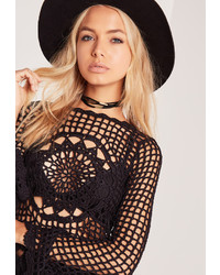 Missguided Layered Gold Trim Choker Black