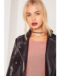 Missguided Plaited Faux Suede Choker Necklace Black