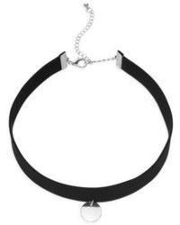 Cara Round Pendant Choker Necklacesilvertone
