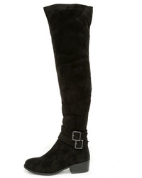 Ancient Cities Black Suede Over The Knee Boots