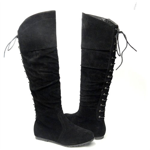 AS By KSC Over The Knee Lace Up Back Suede Flat Boots | Where to