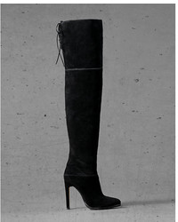 Express Black Suede Edition Thigh High Boot Black 6