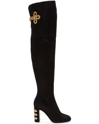 Dolce & Gabbana Black Suede Over The Knee Boots