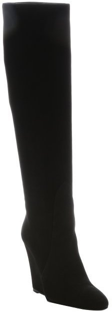 Prada Black Suede Over The Knee Wedge Boots | Where to buy & how ...