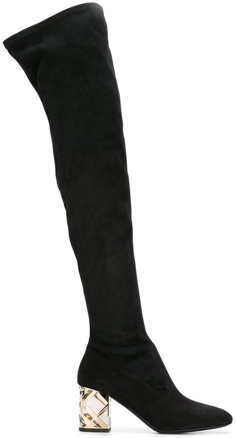 dd00a83a42a Thigh Length Boots. Black Suede Over The Knee Boots by Burberry