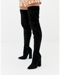 Missguided Flared Heel Over The Knee Boot In Black