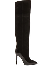 Pierre Hardy Kid Suede Shiny Calfskin Thigh High Boots