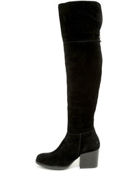 Steve Madden Orabela Black Suede Leather Over The Knee Boots