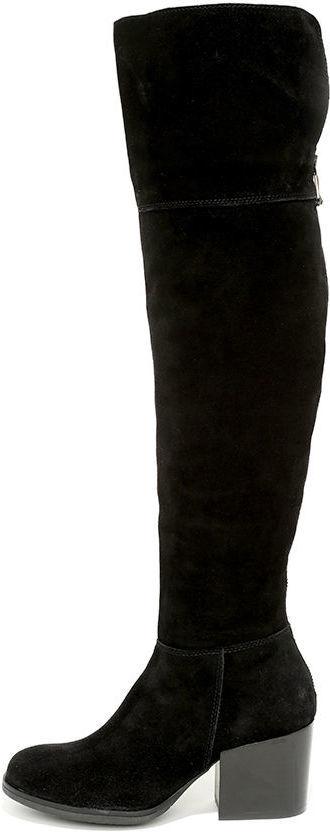 435127ffd06 ... Steve Madden Orabela Black Suede Leather Over The Knee Boots ...