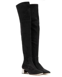 Miu Miu Over The Knee Embellished Suede Boots