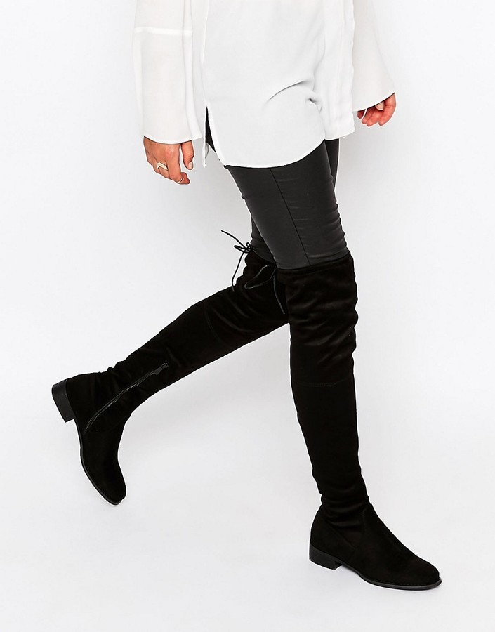 72d68137ac1 ... Public Desire Black Flat Tie Back Over The Knee Boot ...