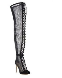 Gianvito Rossi Rebecca Over The Knee Lace Peep Toe Boots