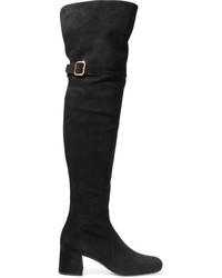Prada Suede Over The Knee Boots Black