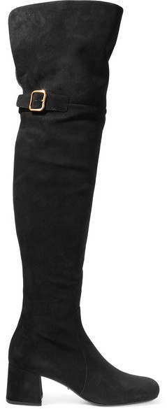 fast delivery buy best famous brand $900, Prada Suede Over The Knee Boots Black